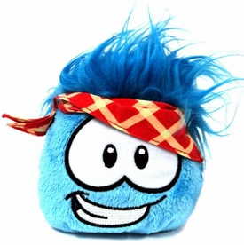 Disney Club Penguin 4 Inch Series 11 Plush Puffle Blue with Plaid Bandana [Includes Coin with Code!]