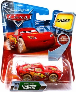 Disney / Pixar CARS Movie 1:55 Die Cast Car with Lenticular Eyes Series 2 Paint Mask Lightning McQueen Chase Piece!