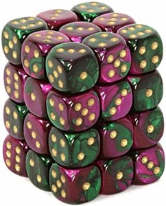 Dice Gaming Supplies 36 Count 12mm 6-Sided d6 Dice Pack Gemini [Green-Purple/Gold 26834]
