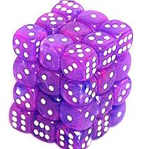 Dice Gaming Supplies 36 Count 12mm 6-Sided d6 Dice Pack Wild [Purple/White 27817]
