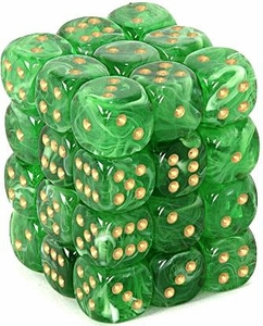 Dice Gaming Supplies 36 Count 12mm 6-Sided d6 Dice Pack Vortex [Green/Gold 27835]