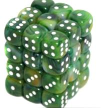 Dice Gaming Supplies 36 Count 12mm 6-Sided d6 Dice Pack Phantom [Green/White 27885]