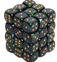 Dice Gaming Supplies 36 Count 12mm 6-Sided d6 Dice Pack Scarab [Jade/Gold 27815]