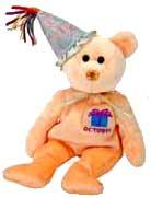Ty Beanie Baby October the New Version Birthday Bear