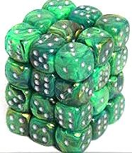 Dice Gaming Supplies 36 Count 12mm 6-Sided d6 Dice Pack Lustrous [Green/Silver 27895]