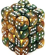 Dice Gaming Supplies 36 Count 12mm 6-Sided d6 Dice Pack Gemini [Gold-Green/White 26825]