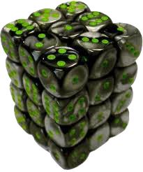 Dice Gaming Supplies 36 Count 12mm 6-Sided d6 Dice Pack Gemini [Black-Grey/Green 26845]