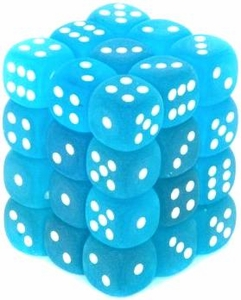 Dice Gaming Supplies 36 Count 12mm 6-Sided d6 Dice Pack Frosted [Carribean Blue/White 27816]