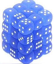 Dice Gaming Supplies 36 Count 12mm 6-Sided d6 Dice Pack Frosted [Blue/White 27806]