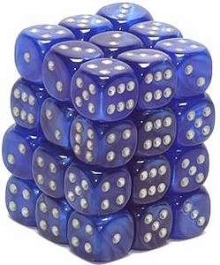 Dice Gaming Supplies 36 Count 12mm 6-Sided d6 Dice Pack Velvet [Blue/Silver 27876]