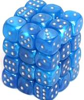 Dice Gaming Supplies 36 Count 12mm 6-Sided d6 Dice Pack Velvet [Bright Blue/Silver 27879]