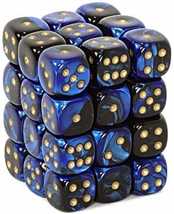 Dice Gaming Supplies 36 Count 12mm 6-Sided d6 Dice Pack Gemini [Black-Blue/Gold 26835]