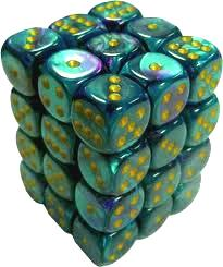 Dice Gaming Supplies 36 Count 12mm 6-Sided d6 Dice Pack Gemini [Purple-Teel/Gold 26849]