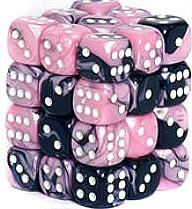 Dice Gaming Supplies 36 Count 12mm 6-Sided d6 Dice Pack Gemini [Black-Pink/White 26830]