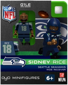 OYO Football NFL Building Brick Minifigure Sidney Rice [Seattle Seahawks] BLOWOUT SALE!
