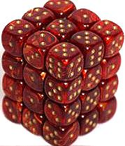 Dice Gaming Supplies 36 Count 12mm 6-Sided d6 Dice Pack Scarab [Scarlet/Gold 27814]