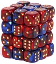 Dice Gaming Supplies 36 Count 12mm 6-Sided d6 Dice Pack Gemini [Blue-Red/Gold 26829]