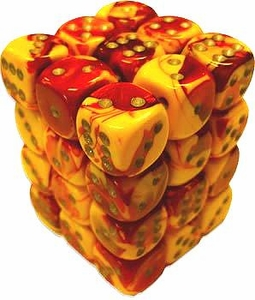 Dice Gaming Supplies 36 Count 12mm 6-Sided d6 Dice Pack Gemini [Red-Yellow/Silver 26850]