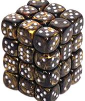 Dice Gaming Supplies 36 Count 12mm 6-Sided d6 Dice Pack Leaf [Black Gold/Silver 27818]