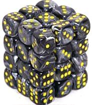 Dice Gaming Supplies 36 Count 12mm 6-Sided d6 Dice Pack Vortex [Black/Yellow 27838]