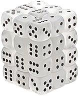 Dice Gaming Supplies 36 Count 12mm 6-Sided d6 Dice Pack Frosted [Clear/Black 27801]