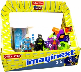 Imaginext DC Super Friends Exclusive Easter Basket Mr. Freeze with Chamber, Batman & Joker with Motorcycle