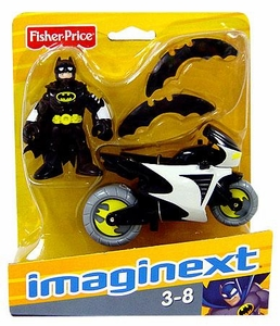 Imaginext DC Super Friends Figure Batman [Black Suit] with Batcycle