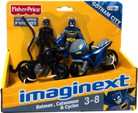 Imaginext DC Super Friends Exclusive Gotham City Batman, Catwoman & Cycles