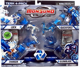 Monsuno Combat 4-Pack Lock, Quickforce, Charger & Glowblade {Core-Tech Team Pack} [4 Figures, 4 Cores & 12 Cards]