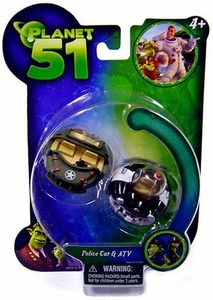 Planet 51 Movie Toy Mini Vehicle Figure 2-Pack Police Car & ATV