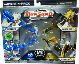 Monsuno Combat 4-Pack Charger, Boost, Driftblade & Black Bullet {Core-Tech VS S.T.O.R.M} [4 Figures, 4 Cores & 12 Cards]