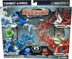Monsuno Combat 4-Pack Lock, Quickforce, Moonfire & Poisonwing {Core-Tech VS Eklipse} [4 Figures, 4 Cores & 12 Cards]