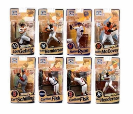McFarlane Toys MLB Cooperstown Series 8 Set of 8 Action Figures [Gehrig, Ryan, Schilling,  McCovey, 2x Henderson & 2x Fisk]