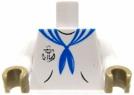 COBI Blocks LOOSE Minifigure Part White Sailor Torso