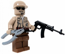 COBI Blocks LOOSE Minifigure  Ground Repair Crewman with Pliers, Screwdriver & Light Machine Gun [Tan Uniform] BLOWOUT SALE!