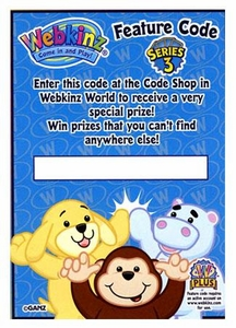 Webkinz Trading Cards Series 3 SINGLE Feature Code Card (Contains 1 Redemption Code) BLOWOUT SALE!