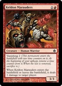 Magic the Gathering Premium Deck Series: Fire and Lightning Single Card Common #7 Keldon Marauders