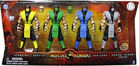 Mortal Kombat Retro 6 Inch Action Figure 4-Pack Scorpion, Reptile, Sub-Zero & Smoke