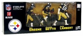 McFarlane Toys NFL Sports Picks Exclusive Action Figure 3-Pack Jack Lambert, Jerome Bettis & Mean Joe Greene (Pittsburgh Steelers)