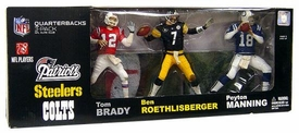 McFarlane Toys NFL Sports Picks Exclusive Action Figure 3-Pack Tom Brady (New England Patriots), Ben Roethlisberger (Pittsburgh Steelers) & Peyton Manning (Indianapolis Colts) [Elite Club Quarterbacks]