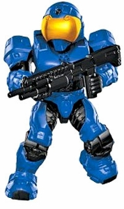 Halo Mega Bloks LOOSE Mini Figure Blue UNSC Spartan Security with Shotgun