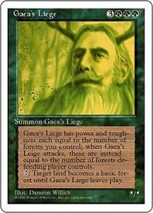 Magic the Gathering Fourth Edition Single Card Rare Gaea's Liege Very Played Condition Not Mint