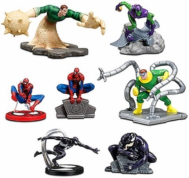 Disney Marvel Spider-Man Exclusive 7-Piece PVC Figurine Playset [3x Spider-Man, Doctor Ock, Green Goblin, Sandman & Venom]