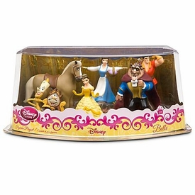 Disney Beauty and the Beast Exclusive 6 Piece PVC Figurine Playset [2x Belle, Beast, Gaston, Philippe & Cogsworth with Lumiere]