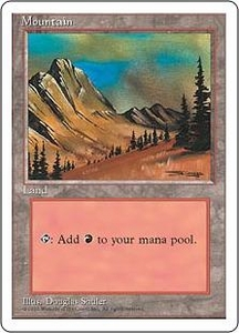 Magic the Gathering Fourth Edition Single Card Land Mountain [Random Artwork]