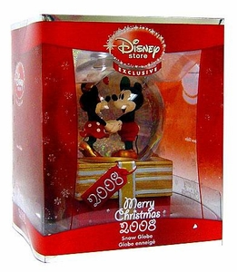 Disney Store Exclusive 2008 Merry Christmas Minnie & Mickey Mouse Snow Globe