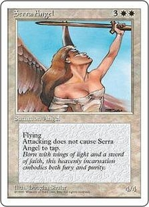 Magic the Gathering Fourth Edition Single Card Uncommon Serra Angel Black Bordered Korean Signed by the Artist