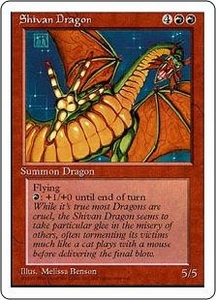 Magic the Gathering Fourth Edition Single Card Rare Shivan Dragon Poor Condition