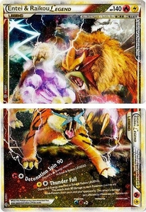 Pokemon Legend: HS Unleashed Single Card Rare Holo LEGEND [Set of Both Cards] #90 & 91 Entei & Raikou LEGEND