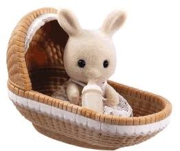 Calico Critters Minifigure Baby Carry Case Rabbit in Basket